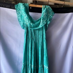 Stunning teal green off the shoulder maxi dress